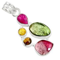 12.89cts natural multi color tourmaline 925 sterling silver pendant d36463