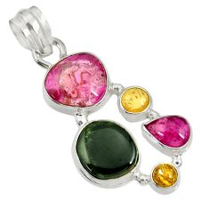Clearance Sale- 13.71cts natural multi color tourmaline 925 sterling silver pendant d36465