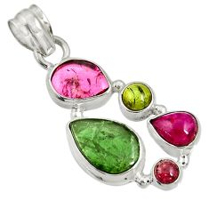 12.91cts natural multi color tourmaline 925 sterling silver pendant d36467