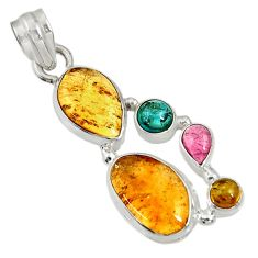 Clearance Sale- 12.52cts natural multi color tourmaline 925 sterling silver pendant d36470