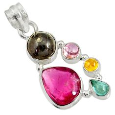 925 sterling silver 13.24cts natural multi color tourmaline pendant d36471