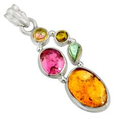 Clearance Sale- 14.19cts natural multi color tourmaline 925 sterling silver pendant d36474