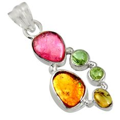 Clearance Sale- 925 sterling silver 12.52cts natural multi color tourmaline pendant d36479