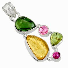 Clearance Sale- 13.77cts natural multi color tourmaline 925 sterling silver pendant d36481