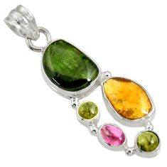 Clearance Sale- 14.72cts natural multi color tourmaline 925 sterling silver pendant d36483