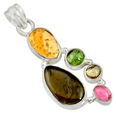 Clearance Sale- 14.23cts natural multi color tourmaline 925 sterling silver pendant d36485