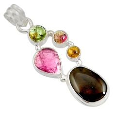 Clearance Sale- 925 sterling silver 14.70cts natural multi color tourmaline pendant d36488