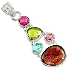 13.24cts natural multi color tourmaline 925 sterling silver pendant d36489