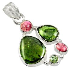 14.26cts natural multi color tourmaline 925 sterling silver pendant d36490