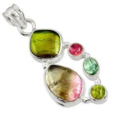 13.77cts natural multi color tourmaline 925 sterling silver pendant d36493