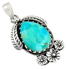 18.15cts green arizona mohave turquoise 925 silver flower pendant d36494