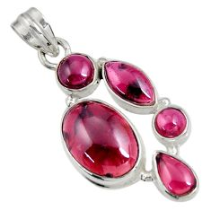 12.65cts natural red garnet oval 925 sterling silver pendant jewelry d36521