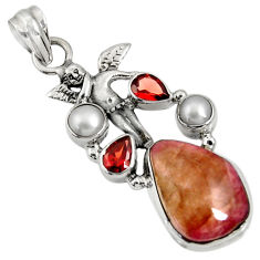 pink bio tourmaline garnet pearl silver angel pendant d36547