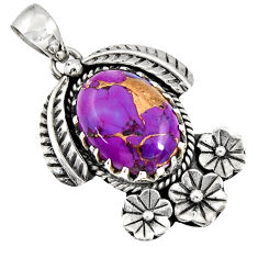 10.16cts purple copper turquoise 925 sterling silver flower pendant d36562