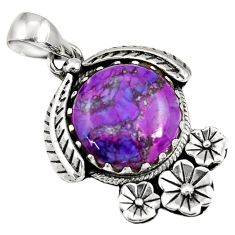 13.71cts purple copper turquoise 925 sterling silver flower pendant d36564