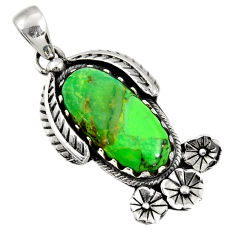Clearance Sale- 10.02cts green copper turquoise 925 sterling silver flower pendant d36572