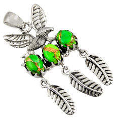 Clearance Sale- 6.20cts green copper turquoise 925 silver feather charm pendant jewelry d36591