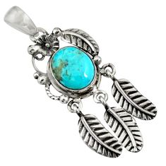 5.30cts blue arizona mohave turquoise 925 silver feather charm pendant d36596
