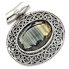 Clearance Sale- 14.54cts natural multi color fluorite 925 sterling silver pendant jewelry d36603