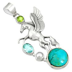 11.38cts green arizona mohave turquoise pearl 925 silver unicorn pendant d36611