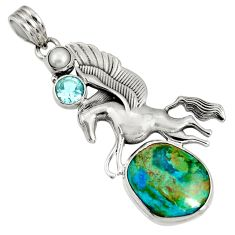 Clearance Sale- 15.82cts natural green opaline topaz 925 sterling silver unicorn pendant d36612