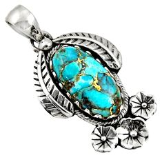 Clearance Sale- 8.03cts blue copper turquoise 925 sterling silver flower pendant jewelry d36614