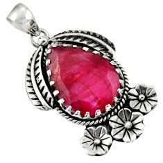 925 sterling silver 14.04cts natural red ruby flower pendant jewelry d36616