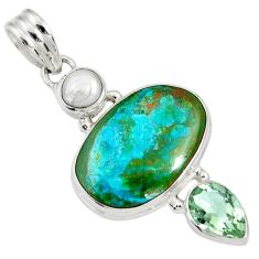 Clearance Sale- 14.23cts natural green opaline amethyst pearl 925 sterling silver pendant d36618