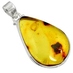 Clearance Sale- 16.70cts natural green amber from colombia 925 sterling silver pendant d36622
