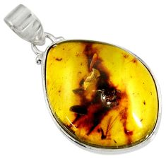 Clearance Sale- 15.62cts natural green amber from colombia 925 sterling silver pendant d36623