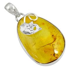 Clearance Sale- 17.18cts natural green amber from colombia 925 sterling silver pendant d36632