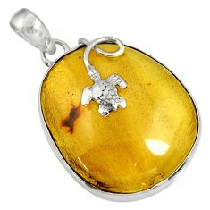 Clearance Sale- 19.20cts natural green amber from colombia 925 silver turtle pendant d36642