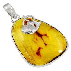 925 sterling silver 21.48cts natural green amber from colombia pendant d36652