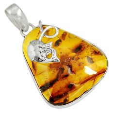 18.15cts natural green amber from colombia 925 sterling silver pendant d36656