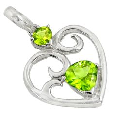925 sterling silver 3.83cts natural green peridot heart pendant jewelry d36664