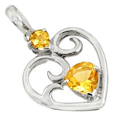 3.62cts natural yellow citrine 925 sterling silver heart pendant jewelry d36666
