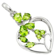 5.63cts natural green peridot 925 sterling silver heart pendant jewelry d36671