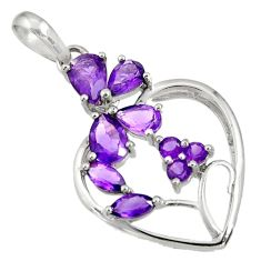 6.04cts natural purple amethyst 925 sterling silver heart pendant jewelry d36673