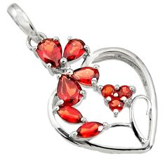 5.87cts natural red garnet 925 sterling silver heart pendant jewelry d36674