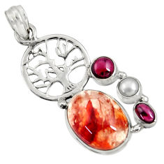 Clearance Sale- 13.36cts natural orange blood quartz 925 silver tree of life pendant d36685