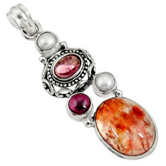 Clearance Sale- 14.59cts natural orange blood quartz garnet 925 sterling silver pendant d36687