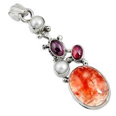 Clearance Sale- 11.89cts natural orange blood quartz garnet 925 sterling silver pendant d36688