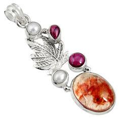 Clearance Sale- 13.79cts natural orange blood quartz garnet 925 sterling silver pendant d36694