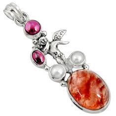 Clearance Sale- 15.31cts natural orange blood quartz garnet 925 sterling silver pendant d36695