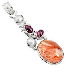 Clearance Sale- 13.09cts natural orange blood quartz garnet 925 sterling silver pendant d36700