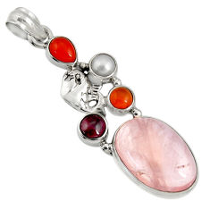 Clearance Sale- 18.98cts natural pink morganite cornelian (carnelian) 925 silver pendant d36702