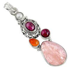 Clearance Sale- 16.09cts natural pink morganite cornelian (carnelian) 925 silver pendant d36705