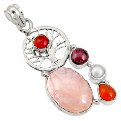 Clearance Sale- 15.69cts natural pink morganite cornelian 925 silver tree of life pendant d36706