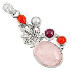 Clearance Sale- 16.89cts natural pink morganite cornelian (carnelian) 925 silver pendant d36707