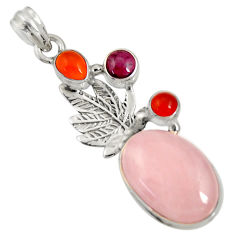 Clearance Sale- 925 silver 16.93cts natural pink morganite cornelian (carnelian) pendant d36715